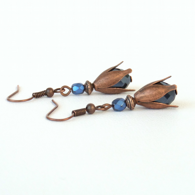 Copper and blue crystal earrings