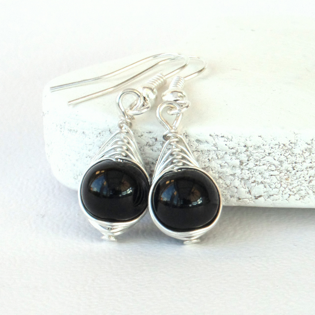 Wire wrapped black onyx earrings