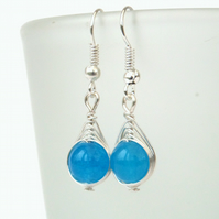 Wire wrapped blue jade earrings