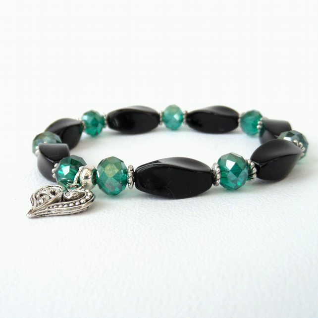 Handmade stretchy black onyx  green crystal bracelet,  heart charm embellishment