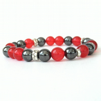 Hematite and red jade stretchy bracelet