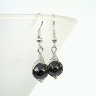 Wire wrapped hematite earrings