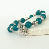 Teal jade and crystal stretchy bracelet