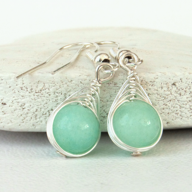 Pale turquoise jade wire wrapped earrings