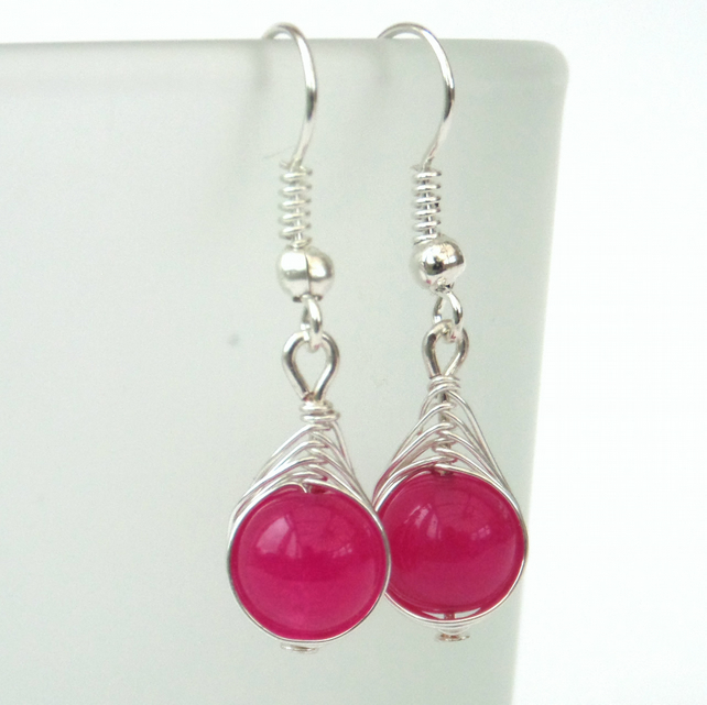 Wire wrapped rose pink jade earrings