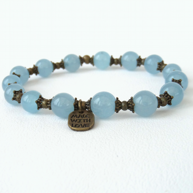 Blue jade and bronze stretchy bracelet, with 'made with love' charm tag