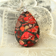 Orange sediment jasper pendant necklace