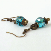 Vintage inspired teal crystal and bronze earrings