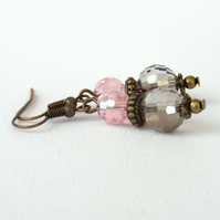 Crystal and bronze earrings, vintage style