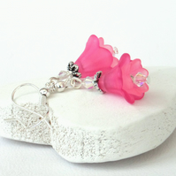 Pink flower earrings with Swarovski ® crystals