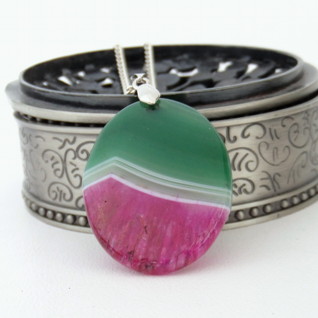 Green and pink druzy agate pendant necklace