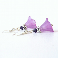 Lilac and purple flower earrings