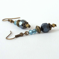 Crystal and bronze earrings, vintage inspired
