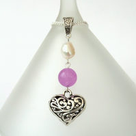 Pearl, jade and heart charm necklace