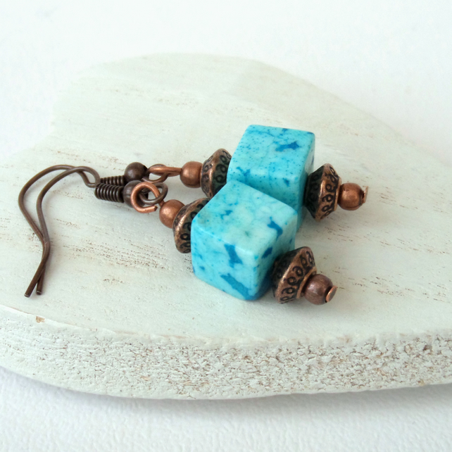 Blue jasper cube copper earrings