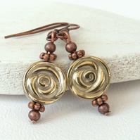 Champagne gold hematite coin and copper earrings
