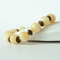 Honey jade and bronze stretchy bracelet