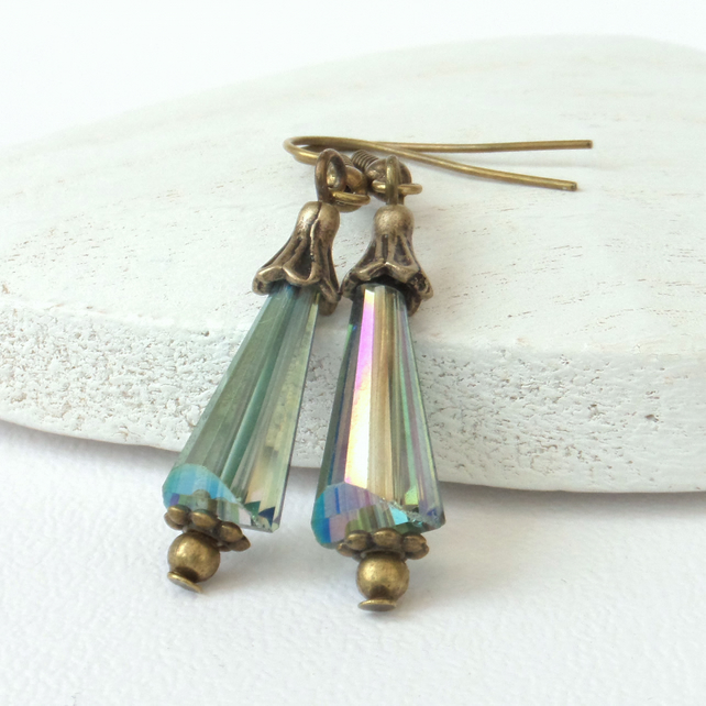 Green rainbow crystal and bronze earrings