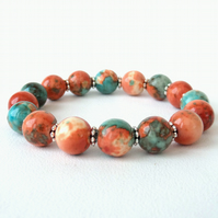 Orange & green jasper gemstone stretchy bracelet