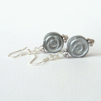 Silver hematite rosebud coin earrings