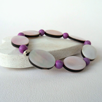 Blush pink shell stretchy bracelet