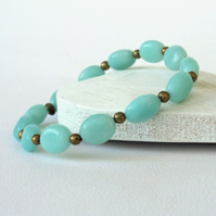 Amazonite and bronze stretchy bracelet