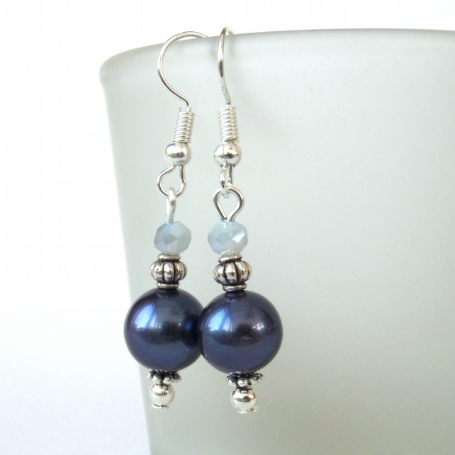 Midnight blue shell pearl and crystal earrings