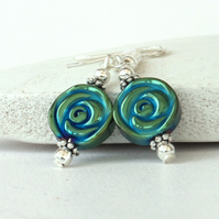 Green-blue hematite earrings