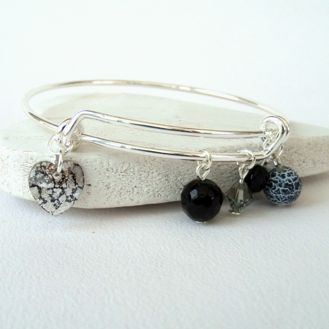Black, white & grey gemstone and crystal bangle style bracelet