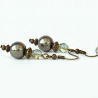 Shell pearl and crystal bronze earrings, vintage inspired