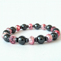Hematite and pink crystal stretchy bracelet