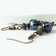Jet crystal and bronze earrings