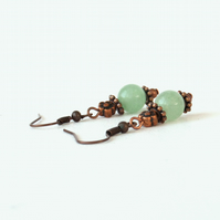 Green aventurine and copper earrings