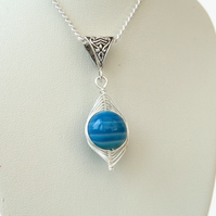 Stunning wire wrapped banded blue agate necklace