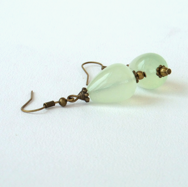 Delicate green new Jade and bronze dangly earrings