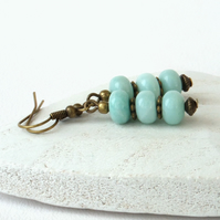Amazonite and bronze earrings