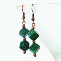 Chrysocolla cube copper earrings