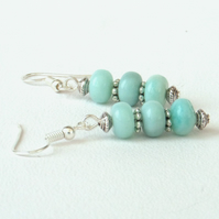 Dangly amazonite gemstone earrings