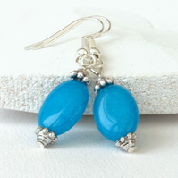 Oval blue jade earrings