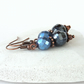 Dangly copper earrings with Preciosa® crystal