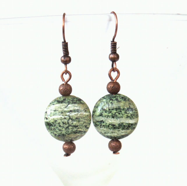 Copper earrings with silverline jasper