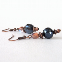 Copper and double crystal earrings