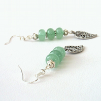 Green aventurine dangly earrings with leaf charm