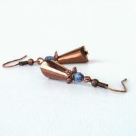 Dangly crystal copper earrings