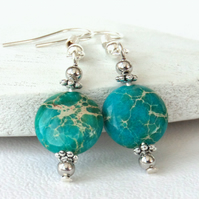 Turquoise calsilica earrings