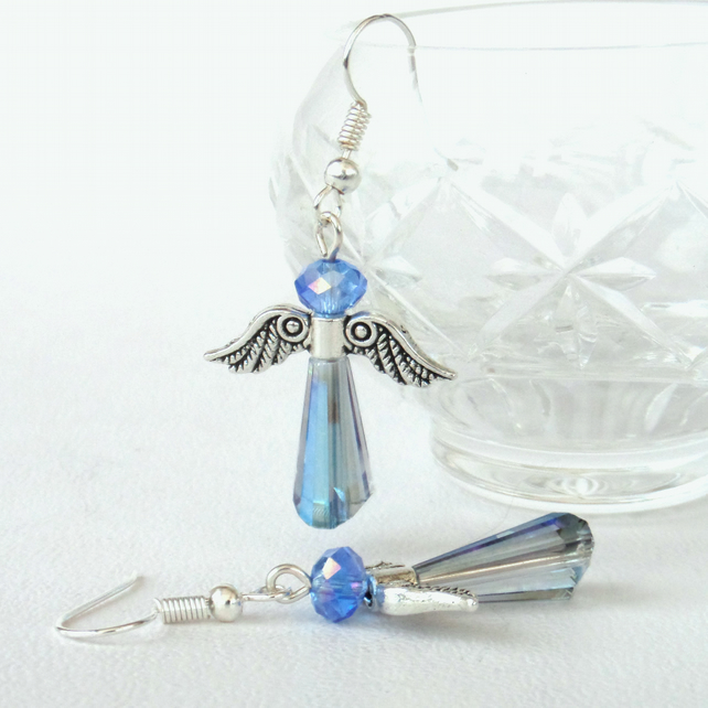 Crystal angel earrings