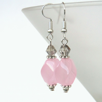 Pale pink jade and crystal earrings