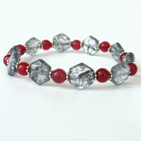 Poppy quartz and crimson jade stretchy bracelet