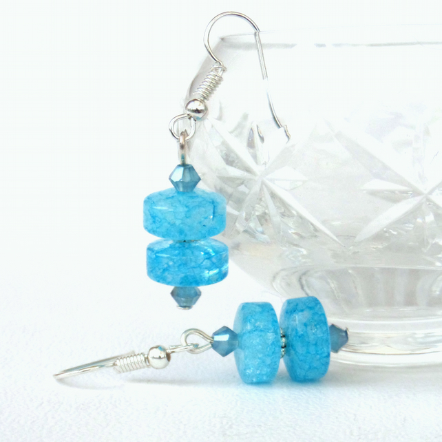 Blue cracked quartz and crystal earrings
