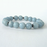 Pretty blue angelite gemstone stretchy bracelet